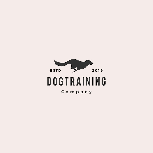 Running jumping dog logo Premium Vector