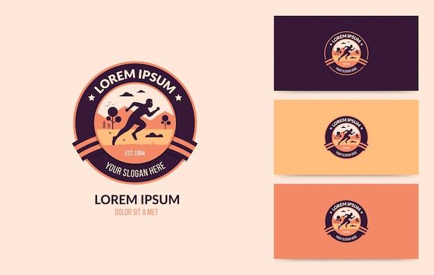 Running man logo badge set Premium Vector