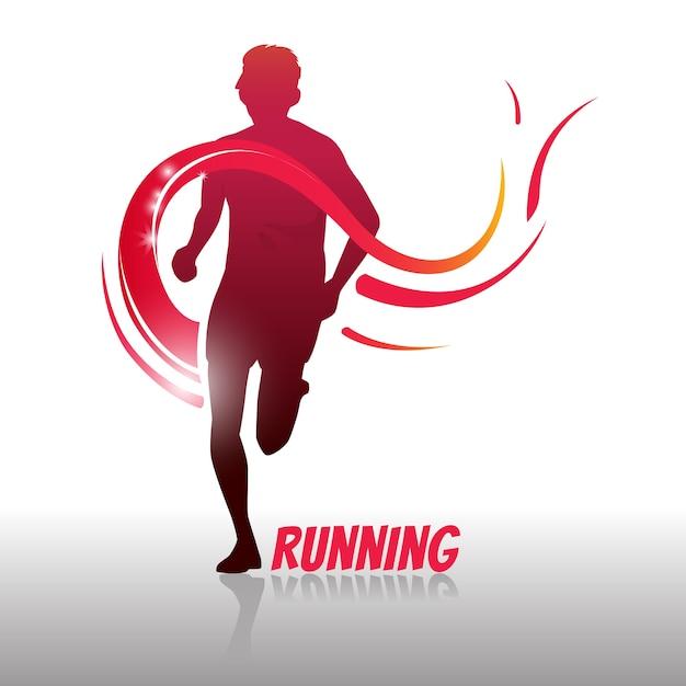 Running man logo en symbool Premium Vector
