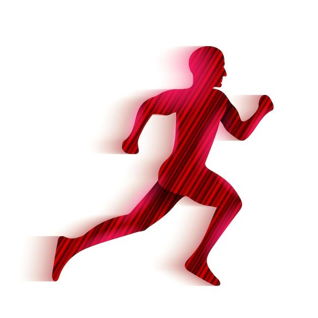Running man silhouet logo. Premium Vector