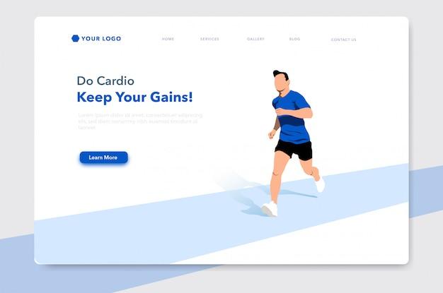 Running man vlakke afbeelding voor website bestemmingspagina Premium Vector