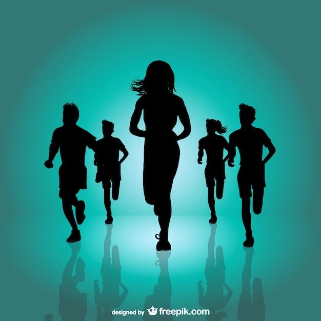 Running marathon achtergrond Gratis Vector