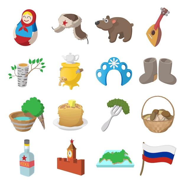 Rusland cartoon pictogrammen instellen geïsoleerde vector Premium Vector