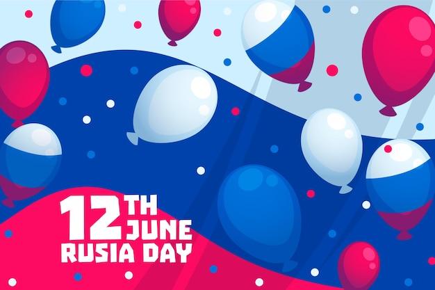 Rusland dag achtergrond met ballonnen Gratis Vector