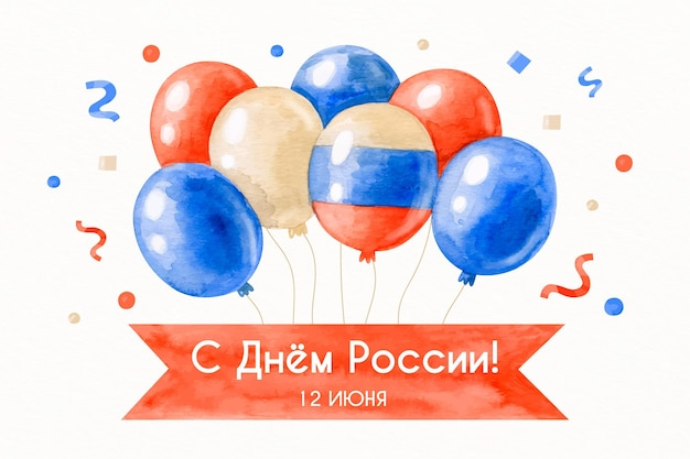 Rusland dag achtergrondontwerp met ballonnen Gratis Vector