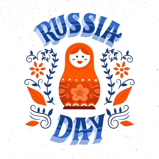Rusland dag belettering concept Gratis Vector