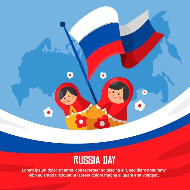 Rusland dag hand getekend ontwerp Gratis Vector