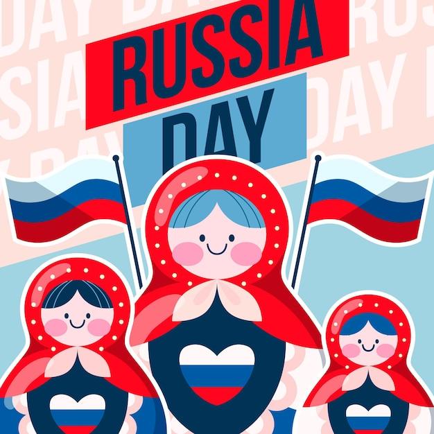 Rusland dag met matrioshka poppen en vlaggen Premium Vector