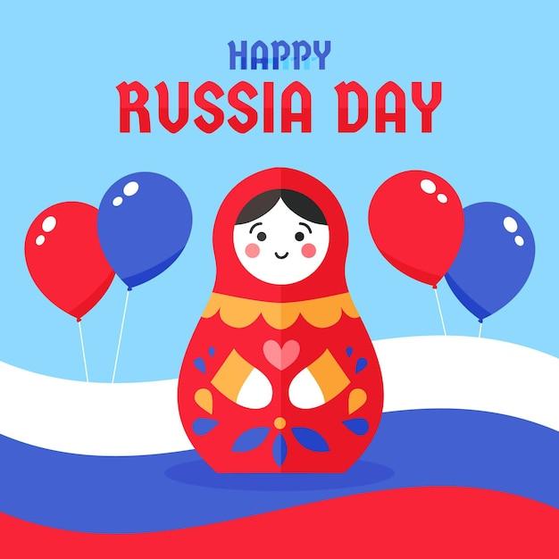 Rusland dag met pop en ballonnen Premium Vector