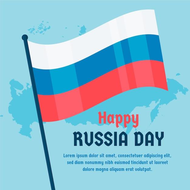 Rusland dag met vlag en kaart Gratis Vector