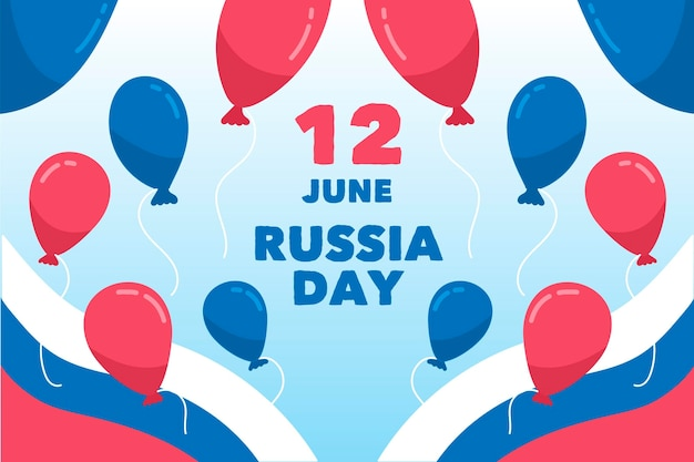Rusland dag wallpaper thema Gratis Vector
