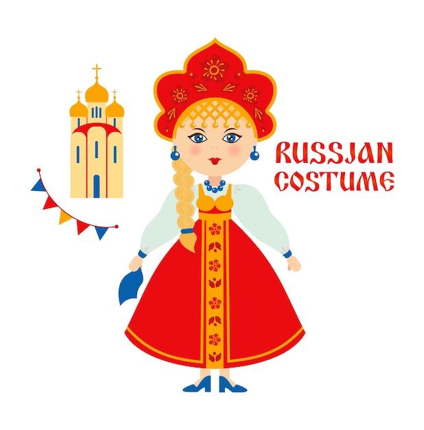 Russisch volkskostuum, russische vrouw met kerk, tempel. Premium Vector