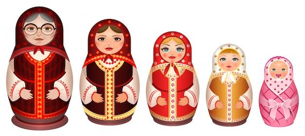 Russische houten nest pop instellen. traditionele retro souvenir uit rusland Premium Vector