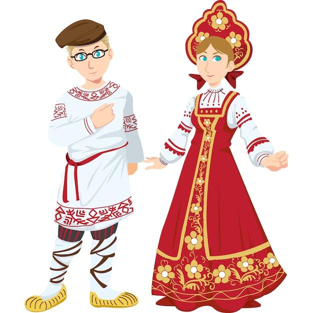 Russische man en vrouw in de traditionele kleding die op witte achtergrond wordt geïsoleerd. Premium Vector