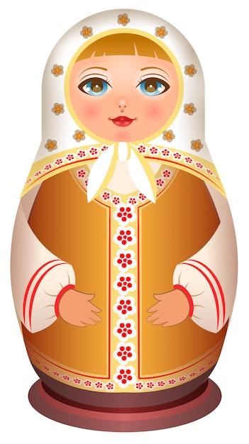 Russische meisjes houten pop. traditionele nationale speelgoed matryoshka Premium Vector