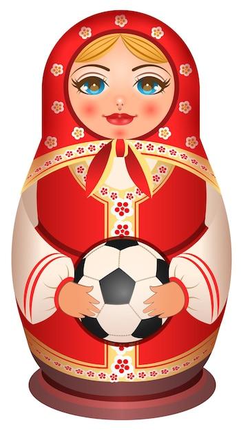 Russische nestelende pop matryoshka houdt voetbal. geïsoleerd op witte illustratie Premium Vector