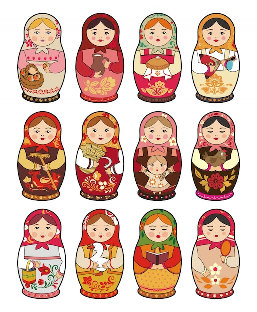 Russische traditionele baboesjka pop, matryoshka, set van illustraties Premium Vector