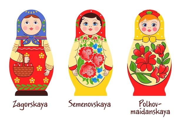 Russische traditionele matryoshka set van drie geïsoleerde afbeeldingen met verschillende gestapelde poppen met verschillende kleurende kunstwerken Gratis Vector