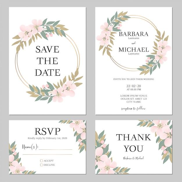 Rustieke kersenbloesem bruiloft uitnodiging sjabloon Premium Vector