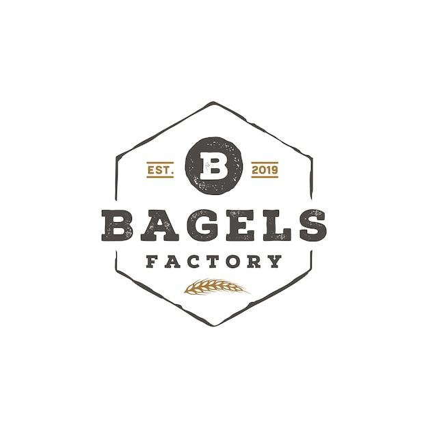 Rustieke retro vintage letter b voor bagels logo design Premium Vector