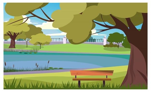 Rustig park met houten bank bij meerillustratie Gratis Vector