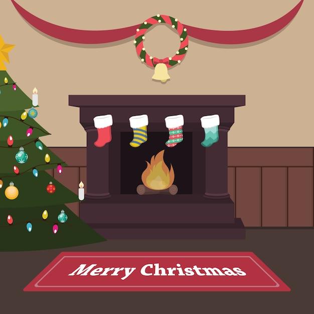 Rustige kerst binnenscène met open haard en kousen Premium Vector