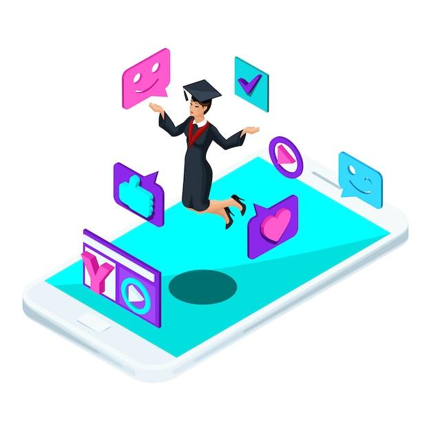 S afgestudeerd meisje, springen verheugt zich, academische kleding, cum, mantel, schiet videoblog, smileys, likes, smartphone, video-uitzending Premium Vector