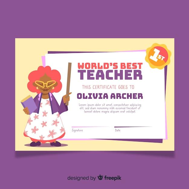 's werelds beste leraar diploma sjabloon Gratis Vector