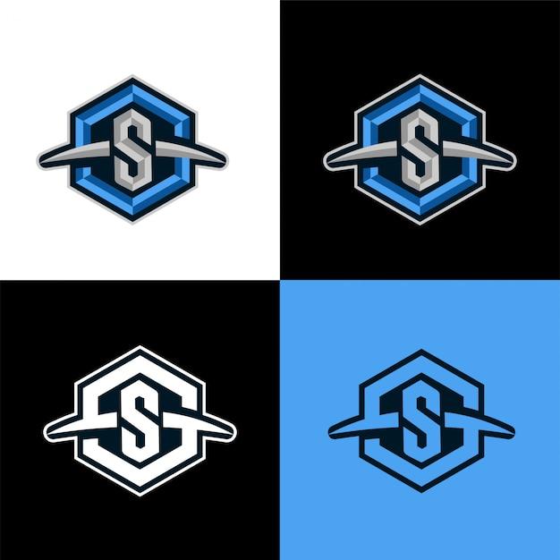 S zeshoek eerste sport logo sjabloon Premium Vector