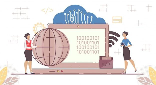 Saas, cloud software, code voor on-demand toegang Premium Vector