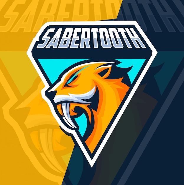 Sabertooth mascotte esport logo ontwerp Premium Vector