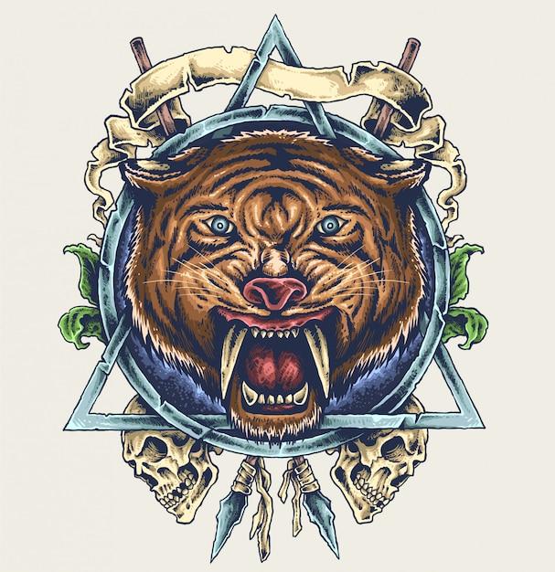 Sabertooth tiger schedel illustratie Premium Vector