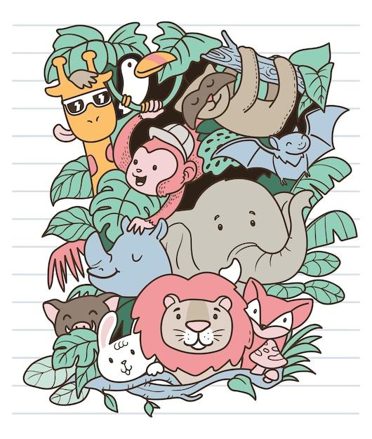 Safari dieren doodle Premium Vector