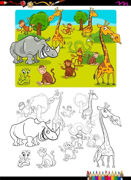 Kleurplaten Van Onderwaterdieren.Safari Dieren Kleurplaat Vector Premium Download