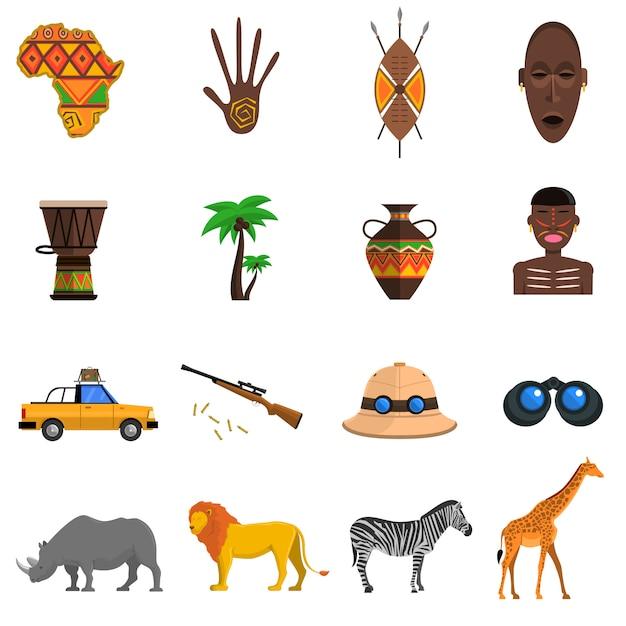 Safari-pictogrammen instellen Gratis Vector