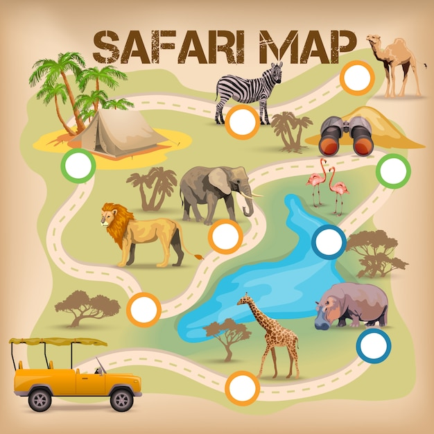 Safari-poster voor spel Gratis Vector