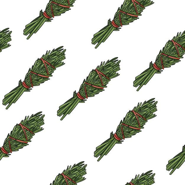 Sage smudge sticks handgetekende boho naadloze patroon. rosemary kruidenbundel textuur achtergrond Premium Vector