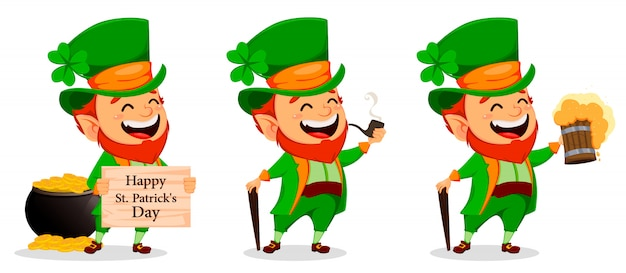 Saint patrick dag. stripfiguur leprechaun Premium Vector
