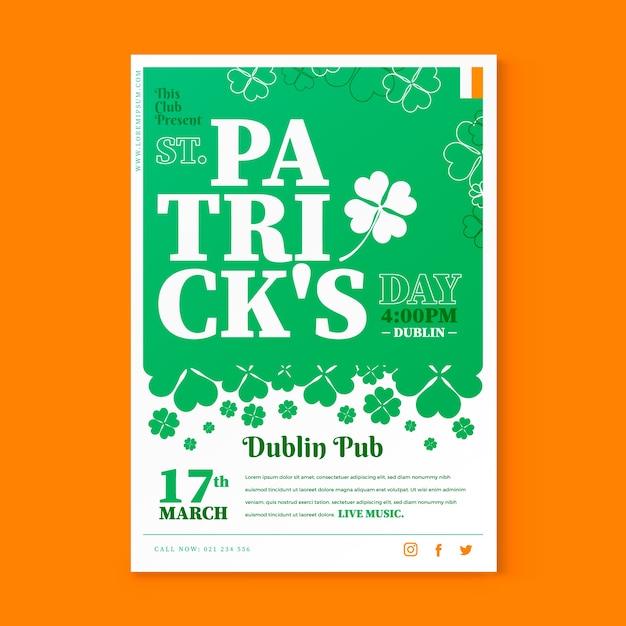 Saint patrick's day poster sjabloon Gratis Vector