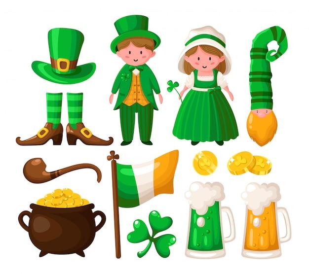 Saint patricks day cartoon shamrock, kabouter, pot met gouden munten, schattige jongen en meisje in groene retro kostuums Premium Vector
