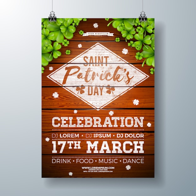 Saint patricks day celebration party flyer met klaver en typografie brief op vintage hout Gratis Vector