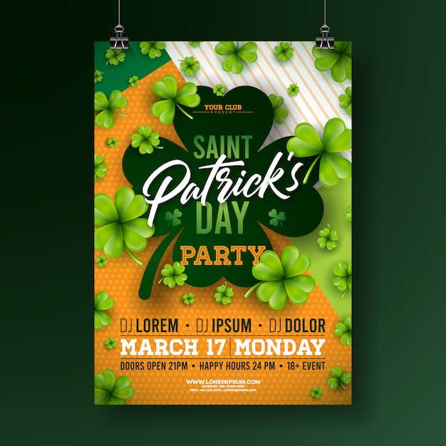 Saint patricks day party flyer met klaver en typografie Gratis Vector