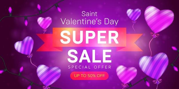 Saint valentine's day speciale aanbieding horizontale flyer-sjabloon of super verkoop banner reclame Premium Vector