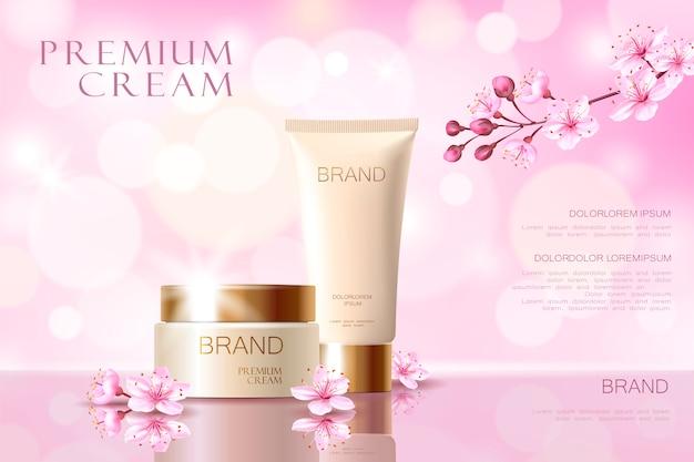 Sakura bloem cosmetische promotionele poster sjabloon. roze bloembloembloesem japans Premium Vector