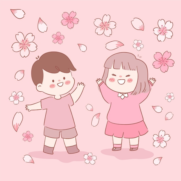 Sakura bloemen en kinderen illustratie Gratis Vector