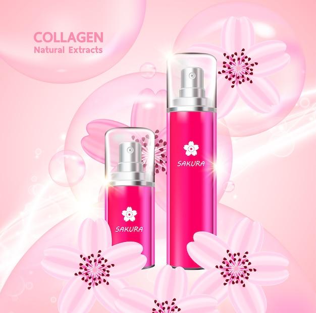 Sakura-collageen en serum voor schoonheidsproducten. Premium Vector