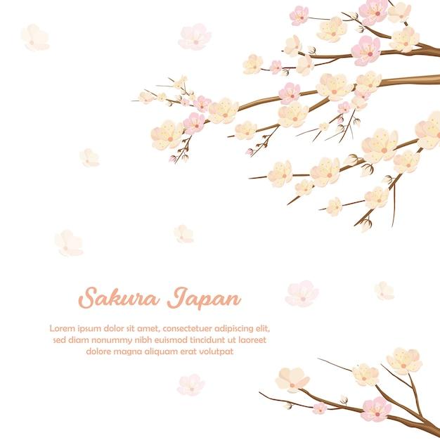 Sakura flower blossom invitation achtergrond Premium Vector