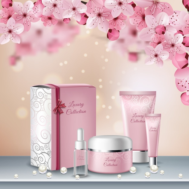 Sakura gekleurde poster of reclameflyer met roze flessen cosmetica voor schoonheidsprocedures Gratis Vector