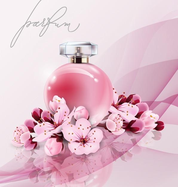 Sakura-parfumadvertenties, realistisch parfum in een glazen fles op roze achtergrond met sakura-bloemen. geweldige reclameposter voor het promoten van een nieuwe geur Premium Vector
