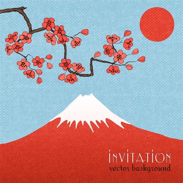 Sakura uitnodiging kaart achtergrond of poster Gratis Vector